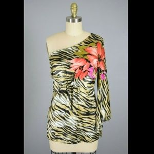 Cache Silk Tiger Floral Print One-Sleeve Top
